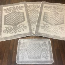 ROMANY WASHABLES GYPSY MATS 4PC SETS NON SLIP SWIRL DESIGN SILVER GREY CARPETS